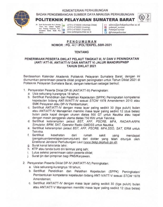 PENGUMUMAN PENERIMAAN PESERTA DIKLAT PELAUT (ANT/ATT) TINGKAT III/IV/V PENINGKATAN JALUR MANDIRI (PNBP) TAHUN 2021